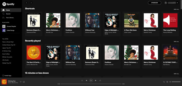 Spotify Web Playerのインターフェース